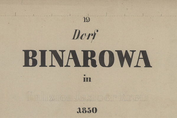 Binarowa – the 1850 map